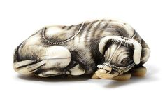 AN IVORY NETSUKE OF A RECUMBENT OX By Masanao, Kyoto, late 18th century Sold for £ 32,450 (US$ 45,592) inc. premium THE HARRIET SZECHENYI SALE OF JAPANESE ART 8 Nov 2011