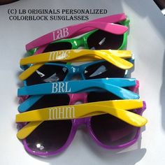 Personalized Colorblock Sunglasses by preppypapergirl on Etsy, $15.00