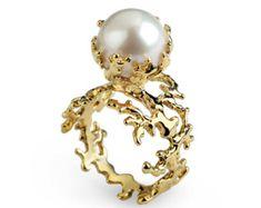 Freshwater Ring Vintage Pearl Ring by BlueJewelleryStore on Etsy