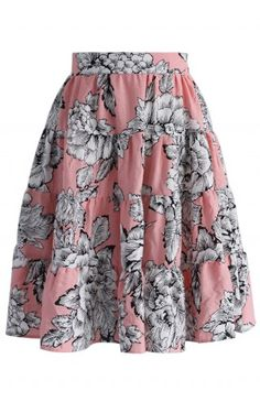 Peony Sketch Ruffled Pink Skirt - Bottoms - Retro, Indie and Unique Fashion
