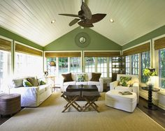 Tropical Green Family Room Wall with White Sofa