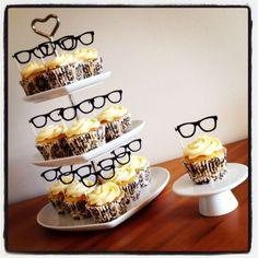 12 GEEK CHIC GLASSES CUP CAKE FLAG Topper Decoration Specs Wedding Hen Mustache