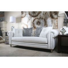 South Cone Home Vintage Patrick Chesterfield Linen Sofa (72-inch White) (Fabric)