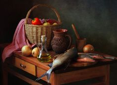 Awesome Still life with fish and ...