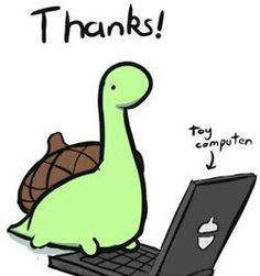 Thanks!, toy computer, text; Sheldon the Tiny Dinosaur