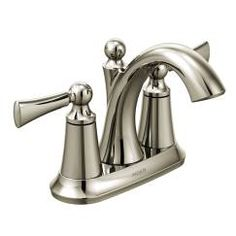 Polished nickel two-handle high arc bathroom faucet