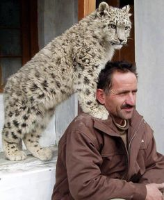 A pet snow leopard with his owner in Hunza. Snow leopards are endangered species.