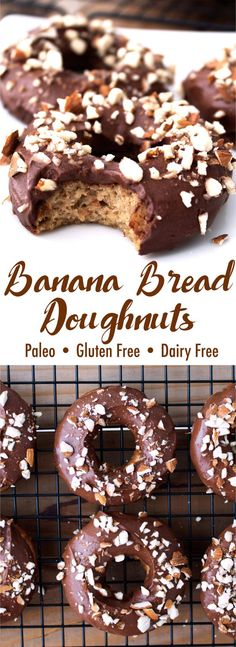 The perfect way to use up your ripe bananas! These Banana Bread Doughnuts are pa… The perfect way to use up your ripe bananas! These Banana Bread Doughnuts are paleo, gluten free, and dairy free. Paleo Dessert, Paleo Sweets, Gluten Free Desserts, Healthy Desserts, Dessert Recipes, Healthy Doughnuts, Paleo Donut, Paleo Banana Bread, Donut Recipes