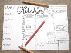 kitchen journal printable journaling menu chef food planner organize life home journaling agenda organizer notebook download lasoffittadiste