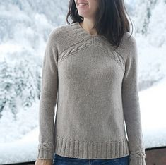 Yuka is a cozy pullover knit from the bottom-up with interesting seamless construction. It features v-neck, high-low hem and simple cables. Cable Knit, Ravelry, Free Pattern, High Low, Turtle Neck, Cozy, V Neck, Pullover, Knitting
