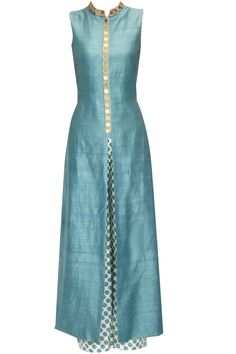 Teal star embroidered anarkali with beige star print pants available only at Pernia's Pop Up Shop.
