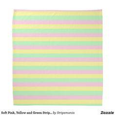 Soft Pink, Yellow and Green Stripes Bandana