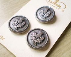 Thistle  Three Vintage Metal La Mode Buttons by smilemercantile