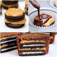 Peanut butter Oreo brownie cupcakes. Looks good but I would leave out the peanut butter!