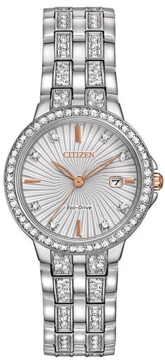 384224ee6d382 Zales Ladies  Citizen Eco-Drive® Silhouette Crystal Watch With Silver-Tone  Dial