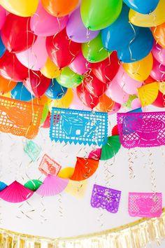 Rainbow balloons and garland