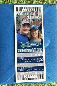 Baseball Ticket Save The Date Magnet or Paper Tickets These are the perfect fit for your Baseball or other Sport Themed Wedding. Make your Save the Dates fit your theme by announcing your wedding with tickets! These are available as either tickets printed on ticket stock or a magnet. Softball Wedding, Ticket Printing, Save The Date Magnets, Wedding Website, Dates, Perfect Fit, Stationery, Super Cute, Baseball Cards