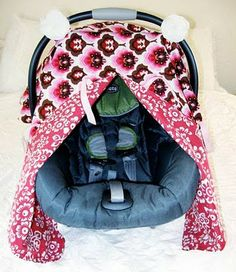 closet crafter: car seat canopy with peek-a-boo tutorial<br> Baby Sewing Projects, Sewing For Kids, Car Seat Cover Pattern, Car Seat Canopy Pattern, Baby Carrier Cover, Pop Up, Cute Blankets, Baby Blankets, Peek A Boo