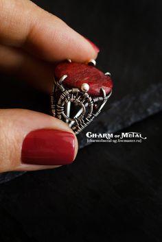 """Купить """"Brunehilde"""" Серебряное кольцо с корундом - украшение, подарок девушке, подарок женщине, серебро, wire"""
