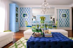 Blue and Green Graphic living/dining room space is so clean, bright and full of delight via The Pink Pagoda: The Pink Pagoda in Chic Spaces || Maria Barros