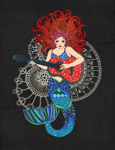 Musical Mermaid Art Print
