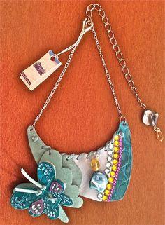 Collana Necklace Donna In Pelle Realizzata A Mano Sea Shore