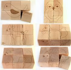 Animal Block Puzzle - 6 pictures on natural wooden cubes - bear deer owl squirrel hedgehog bird. $25.00, via Etsy.