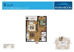 1 Oda 1 Salon (1+1) Daire Planları | MARMAROOM