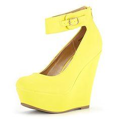 7a2f291246 DREAM PAIRS Women's Height-Ankle Yellow Nubuck Elegant Ankle Strap Rear  Zipper Closure Wedge Heel Platform Pumps Shoes Size 9.5 B(M) US