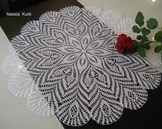 Crochet doily Napkin crochet Open-work napkin crochet Knitted tablecloth White crochet doily Lace doilies Round doily Gift to friends, 20 in Crochet Tablecloth Pattern, Crochet Lace Edging, Crochet Flower Patterns, Thread Crochet, Crochet Flowers, Crochet Art, Crochet Stitches, Crochet Decoration, Decoration Table