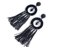 "Fringed clip-on earrings, ideal form - beaded top - thread tassels, Oscar De La Renta styled, high-quolity handmade, 3"""