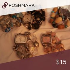 5 interchange watches 5 super cute watches that you can switch the bands around anyway you want there are 5 watches&5 bands pink,blue,black,brown/tan,silver beaded bands really cute stretchy Accessories Watches