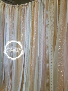 Wedding Backdrop 8' x 6' Ivory and Nude Sparkle Sequin Fabric Backdrop Garland with Ribbon & Lace - Photo Prop, Baby Shower