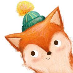little fox wearing hat. Illustration Inspiration, Fox Illustration, Character Illustration, Gifts For Art Lovers, Lovers Art, Character Art, Character Design, Image Deco, Fox Drawing