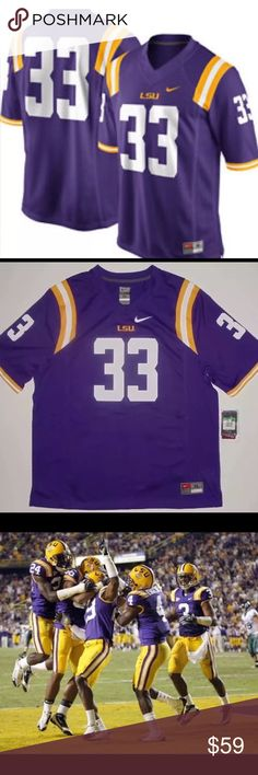 """Louisiana State Tigers Purple NikeFootball Jersey This LSU Tigers #33 Game Jersey by Nike!  100% polyester with mesh side panels, screen printed graphics, stitched team logo under neck line, screen printed sleeve stripes, embroidered Nike Swoosh, and stitched jock tag. Size:  Men's XL.  Measures 32"""" in length and 24"""" across the chest.   Condition:  Jersey is brand new with retail tags!   Thanks for looking and happy gameday! Nike Other"""