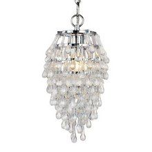 """View the AF Lighting 4950-1H Elements Series """"Crystal Teardrop"""" Chandelier with Clear Drop Glass Accents, Finished in Polished Chrome at LightingDirect.com."""