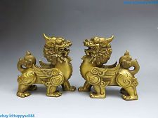 China Brass Copper Feng Shui Animal Foo Dog Lions a pair Statue sculpture