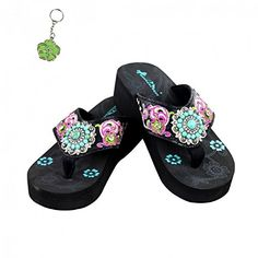 1216d241c741b1 Montana West Turquoise Concho Rhinestone Flip Flops Key Ring Jp Black Pink  8