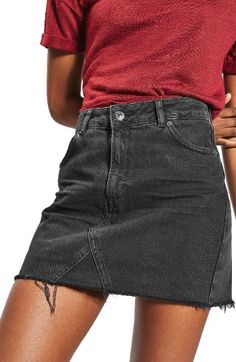 Free shipping and returns on Topshop Raw Hem Denim Miniskirt at Nordstrom.com. This high-rise denim A-line skirt has edge, thanks to heavy fading and a threadbare hemline.