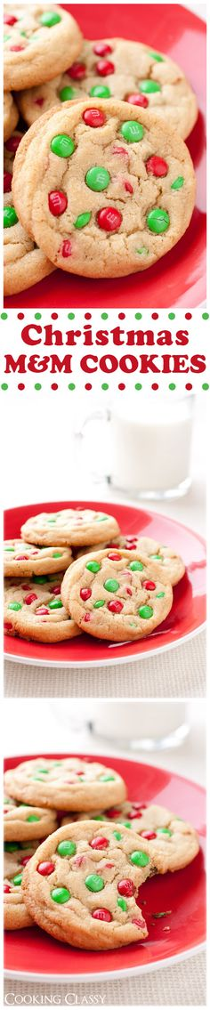 Christmas M&M Cookies - soft, chewy and perfectly festive! You'll love these cookies!