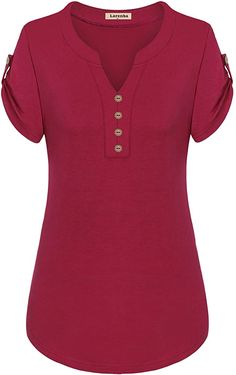 Larenba Cotton Henley Shirts for Ladies, Womens V Neck Short Sleeve Button Down Stretchy Casual Blouse Henley Shirts(Red,X-Large) Simple Shirts, Cool Shirts, Casual Shirts, Plaid Shirts, Kurti Neck Designs, Purple Blouse, Henley Shirts, Summer Blouses, Blouse And Skirt