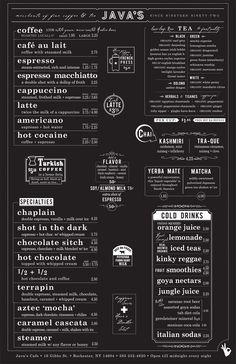 Menu Inspiration. Also check out for drawers of tea inspriation: http://www.flickr.com/photos/docgeorge/7559050582/in/set-72157630550468636/