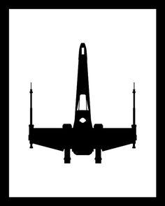 or Poster Print Star Wars Black and White Minimalist Design. X-Wing Fighter, flown by Luke Skywalker in the original trilogy. Star Wars Quilt, Star Wars Room, Star Wars Silhouette, White Art, Black And White, Summit Homes, X Wing Fighter, Star Wars Tattoo, Star Wars Poster