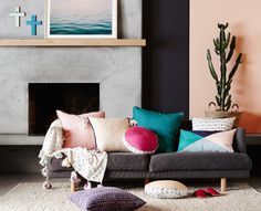 Mix and match colour, texture and pattern for a warm living room look by Sage and Clare. Cushions, Couch, Living Room Collections, Warm Living, Interior, Eclectic Interior, Green Couch, Home Decor, Room