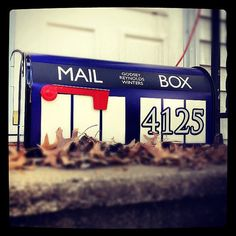 Tardis mailbox - just in case the HOA won't let us have an odd size mailbox. New Mailbox, Mailbox Ideas, Doctor Who Gifts, 50th Anniversary Gifts, Wall Mount Mailbox, Don't Blink, Gift Exchange, Custom Vinyl, Dr Who