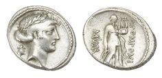 Ancient Coins - Q. Pomponius Musa Ar. denarius (66 BC)