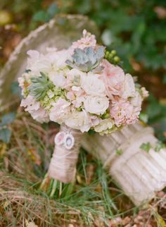pink, white and green wedding bouquet designed by J. Smith Floral Design