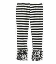 Stripey ruffle leggings $35