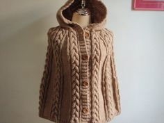 Cable Knitted style Poncho capelett in Brown by NRWhandmade, $75.00