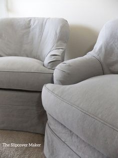 Grey Linen Slipcover Shaped To Fit The Curves